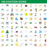 100 aviation icons set, cartoon style. 100 aviation icons set in cartoon style for any design illustration royalty free illustration