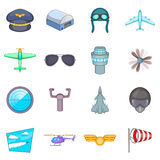 Aviation icons set, cartoon style. Aviation icons set. Cartoon illustration of 16 aviation vector icons for web Royalty Free Stock Image