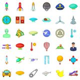 Aviation icons set, cartoon style. Aviation icons set. Cartoon style of 36 aviation vector icons for web isolated on white background Stock Photography
