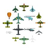 Aviation icons set, flat style. Aviation icons set. Flat illustration of 16 aviation vector icons for web Royalty Free Stock Photo