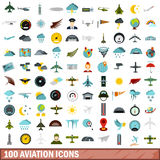 100 aviation icons set, flat style Stock Photos