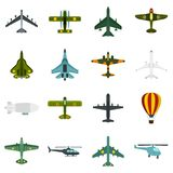 Aviation icons set, flat style Royalty Free Stock Photography