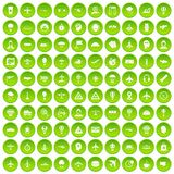 100 aviation icons set green circle. Isolated on white background vector illustration Royalty Free Stock Images