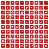 100 aviation icons set grunge red. 100 aviation icons set in grunge style red color isolated on white background vector illustration Royalty Free Stock Images