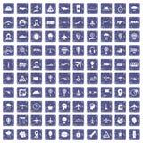 100 aviation icons set grunge sapphire. 100 aviation icons set in grunge style sapphire color isolated on white background vector illustration Royalty Free Stock Image