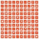 100 aviation icons set grunge orange. 100 aviation icons set in grunge style orange color isolated on white background vector illustration Royalty Free Stock Photos