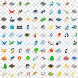 100 aviation icons set, isometric 3d style. 100 aviation icons set in isometric 3d style for any design vector illustration Stock Images