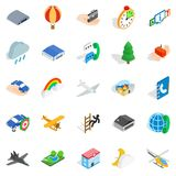 Aviation icons set, isometric style. Aviation icons set. Isometric set of 25 aviation vector icons for web isolated on white background Stock Images