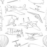 Aviation Icons Set pattern Stock Images