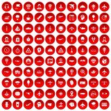 100 aviation icons set red. 100 aviation icons set in red circle isolated on white vector illustration Royalty Free Stock Image