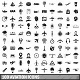 100 aviation icons set, simple style. 100 aviation icons set in simple style for any design vector illustration Stock Photo