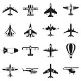 Aviation icons set, simple style Stock Photography