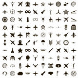 100 aviation icons set, simple style. 100 aviation icons set in simple style on a white background Royalty Free Stock Photography