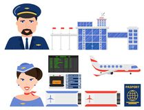 Aviation icons vector set airline graphic airplane airport transportation fly travel symbol illustration Royalty Free Stock Image