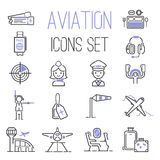 Aviation icons vector set. Aviation icons vector set airline graphic illustration. Vector flight airport transportation aviation icons passenger design set Stock Images