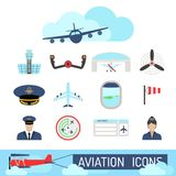 Aviation icons set airline station airport symbols departure terminal plane stewardess tourism vector illustration Stock Image