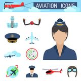 Aviation icons set airline station airport symbols  Royalty Free Stock Photos