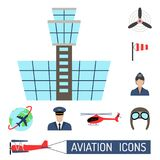 Aviation icons set airline station airport symbols departure terminal plane stewardess tourism vector illustration Stock Photography