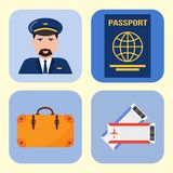 Aviation icons vector set airline graphic symbols airport pilot fly travel symbol illustration. Royalty Free Stock Photos