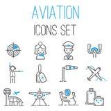 Aviation icons vector set airline outline graphic illustration flight airport transportation passenger design departure. Aviation icons departure cargo world vector illustration