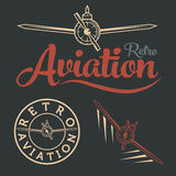 Aviation label art. Retro aviation label copy fly Stock Images