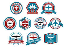 Aviation labels or badges in retro style Stock Photo