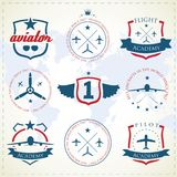 Aviation labels. Set of vintage aviation labels Royalty Free Stock Photo