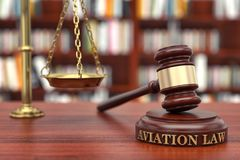 Aviation Law. Gavel and word  on sound block stock photography