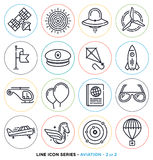 Aviation Line Icons Set Royalty Free Stock Photos