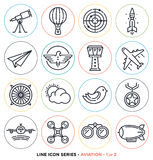 Aviation Line Icons Set Royalty Free Stock Images