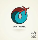 Aviation logo, emblem template, air travel. Vector. Line art. Royalty Free Stock Photo
