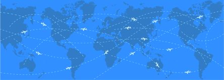 Aviation map background. Abstract background with world map and stylized flight routes Stock Illustration