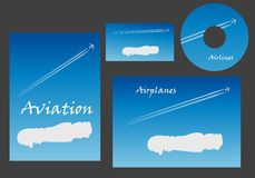 Aviation marketing elements. With a white cloud with copyspace and a contrail behind a jet on a blue sky on stationery, business card and CD, vector template royalty free illustration