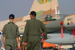 Aviation mechanics walking. Israeli air force, Brno Airshow 2005 Stock Photography