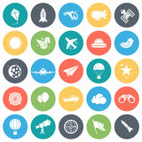 Aviation Minimal Icon Set. Aviation round vector icons collection in pastel colors.  on white background Stock Image