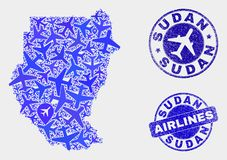 Aviation Mosaic Vector Sudan Map and Grunge Seals. Airplane vector Sudan map mosaic and grunge seals. Abstract Sudan map is constructed from blue flat random royalty free illustration