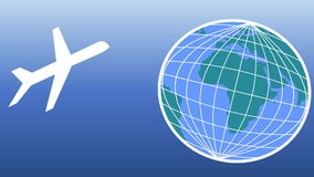 Aviation movie with aircraft and animated globe.  Airplanes land and depart the globe.  Air transport, travel agency. Aviation movie with aircraft and animated stock video