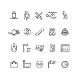 Aviation outline vector icons set stock illustration