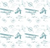 Aviation pattern blue seamless monogram retro vintage royalty free illustration
