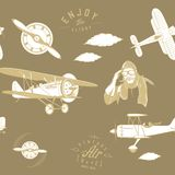 Aviation pattern brown seamless monogram retro vintage stock illustration