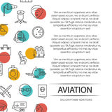 Aviation poster concept with outline icons. And colorful elements. Vector illustration vector illustration