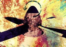 Aviation propeller. Grunge colorful background Royalty Free Stock Image