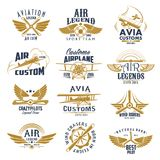 Aviation airplane legend team vector retro icons. Aviation retro icons set of aircraft propeller and wings for avia customs and pilot legend team labels. Vector Royalty Free Stock Images