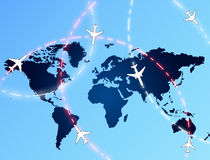 Aviation routes. On blue globe background Royalty Free Stock Photography