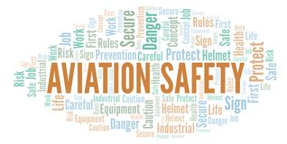 Aviation Safety word cloud. Word cloud made with text only stock illustration