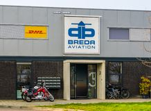 Aviation seppe breda, main building of the airport in bosschenhoofd, the Netherlands, march 30, 2019. The Aviation seppe breda, main building of the airport in royalty free stock images