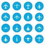 Aviation set icon blue. Isolated vector illustration Stock Photos