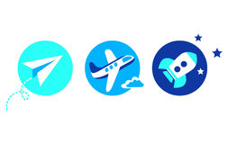 Aviation set - 3 icons. Aviation set - paper airplane, aircraft, space rocket Royalty Free Stock Images