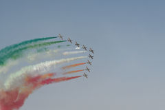 Aviation show. In blue sky Royalty Free Stock Photo