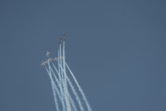 Aviation show. In blue sky Royalty Free Stock Image